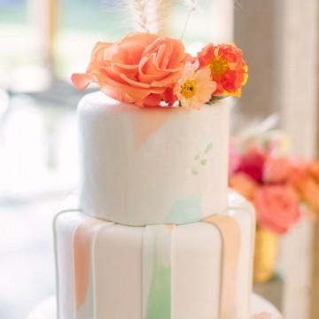 Акварельная роспись на свадебных тортах